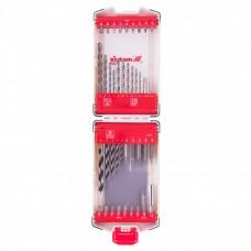 Набор сверл комбинированный, сверла по металлу 1-6 мм, бетону 4-8 мм, дереву 3-8 мм, биты 22 шт, адаптер, 44 предмета, Pro Matrix