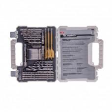 Набор сверл комбинированный, сверла по металлу 1-6,5 мм, бетону 4-8 мм, дереву 4-10 мм, перки, биты 20 шт, адаптер, головки 2 шт, зенковка, 50 предметов Pro Matrix