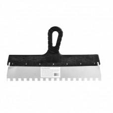 Шпатель из нержавеющей стали, 350 мм, зуб 10 х 10 мм, пластмассовая ручка Россия