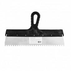 Шпатель из нержавеющей стали, 350 мм, зуб 6 х 6 мм, пластмассовая ручка Россия