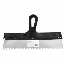 Шпатель из нержавеющей стали, 350 мм, зуб 8 х 8 мм, пластмассовая ручка Россия