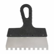 Шпатель из нержавеющей стали, 150 мм, зуб 4 х 4 мм, пластмассовая ручка Россия