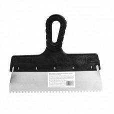 Шпатель из нержавеющей стали, 250 мм, зуб 4 х 4 мм, пластмассовая ручка Россия